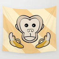 monkey Wall Tapestries featuring Monkey by Nir P