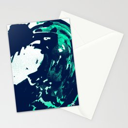 Navy Blue, Black, Blue, Bold Green Wave Stationery Cards