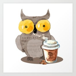 The owl and coffee Art Print