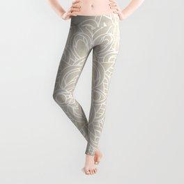 White Lace Mandala on Antique Ivory Linen Background Leggings