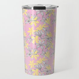 Pink and Yellow Floral Print Pattern with Petals Line details Travel Mug