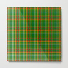 Green Red Yellow and White Plaid Metal Print
