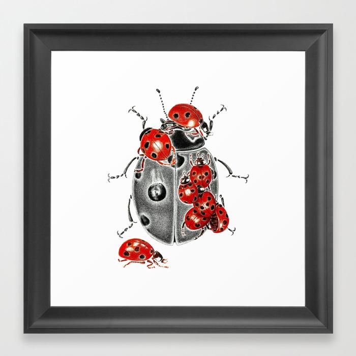 Siege Of Ladybugs Framed Art Print By Kejla Society6