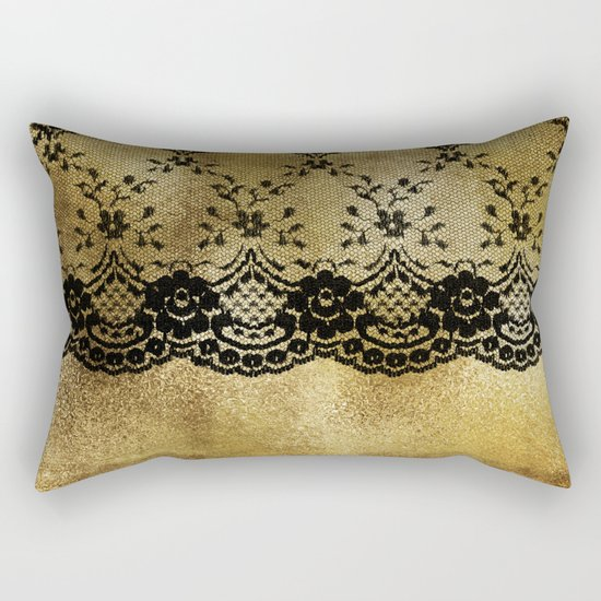 Black floral elegant lace on gold metal background- #Society6 Rectangular Pillow