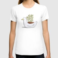 Succulent in Duck Planter LARGE White Womens Fitted Tee