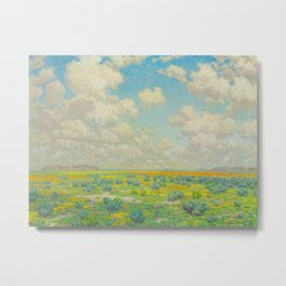 Granville Redmond Spring Antelope Valley Beautiful Landscape Painting Blue Sky Green Flower Filled F Metal Print