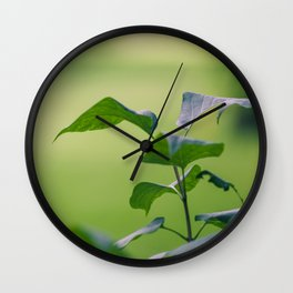 Green Garden Leaves Wall Clock