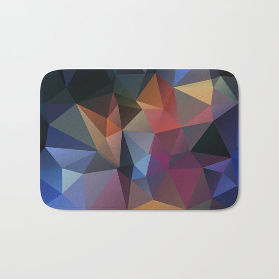 Polygon geometric abstract pattern in yellow blue and brown colors . Bath Mat
