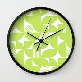 Lime Green Mid Century Bauhaus Semi Circle Pattern Wall Clock