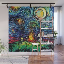Snoopy Meets starry night Wall Mural
