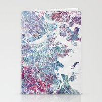 boston map Stationery Cards featuring Boston map by MapMapMaps.Watercolors