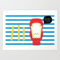 french fries Art Prints featuring French Fries by Marcela Chermont
