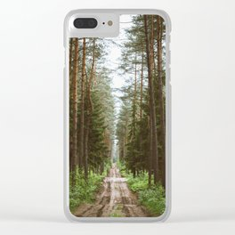 Fun road at the forest Clear iPhone Case