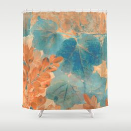 Blue and Orange Autumn Leaves Shower Curtain