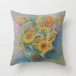 SUNFLOWERS Flowers Classic Still life Impressionistic pastel drawing Floral painting Throw Pillow