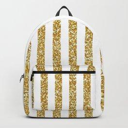 golden white  stripes Backpack