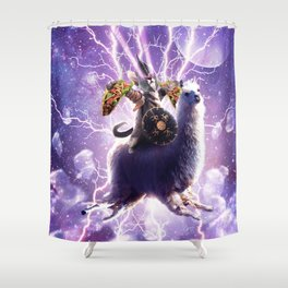 Lazer Warrior Space Cat Riding Llama With Taco Shower Curtain
