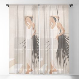 Minimal Woman with a Palm Leaf Sheer Curtain