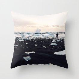 Photographer on Diamond Beach, Iceland Throw Pillow