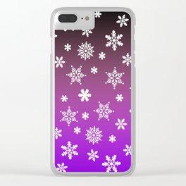 Snow Flurries-Purple/Black Ombre Clear iPhone Case