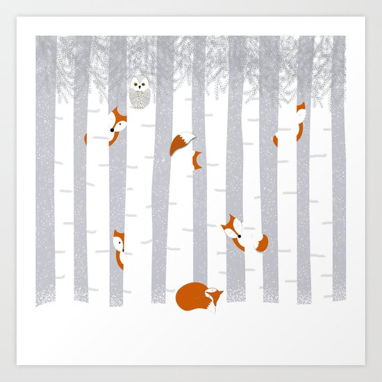 Playing in the snow Art Print