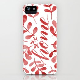 Watercolor home foliage – red iPhone Case