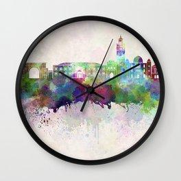 Marrakesh skyline in watercolor background Wall Clock
