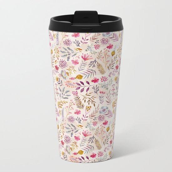 Light floral Metal Travel Mug