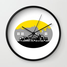 Tow Truck Towing Car Buildings Oval Woodcut Wall Clock