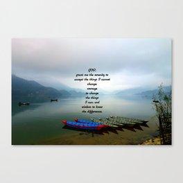 Serenity Prayer With Phewa Lake Panoramic View Canvas Print