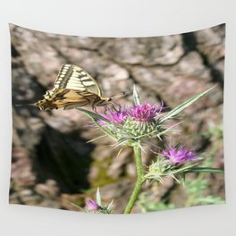Scarce Swallowtail Butterfly and Thistle Wall Tapestry