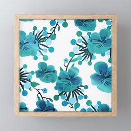 Turquoise Flower Delight Framed Mini Art Print