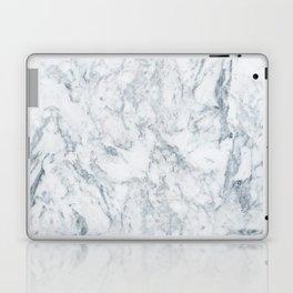 Vintage elegant navy blue white stylish marble Laptop & iPad Skin