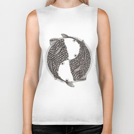 Pisces - Fish Koi - Japanese Tattoo Style (black and white) Biker Tank