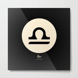 Libra Symbol Black Metal Print