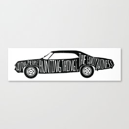 Supernatural Fanart - Impala Family Motto Canvas Print