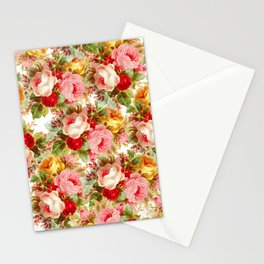 Boho chic pink yellow red roses floral vintage painting Stationery Cards