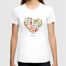 I Love Ukraine LARGE White Womens Fitted Tee
