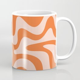 Retro Liquid Swirl Abstract Pattern in Orange and Pale Blush Pink Coffee Mug
