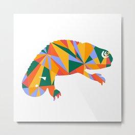 Colorful artistic chameleon illustration design Metal Print