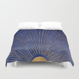 Twilight / Blue and Metallic Gold Palette Duvet Cover