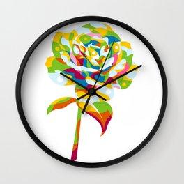 Rose Flower Pattern Pop Art Wall Clock