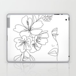 Minimal Line Art Woman Face II Laptop & iPad Skin
