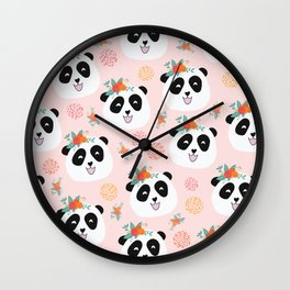 Panda bear with flowers seamless pattern Wall Clock