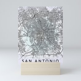 San Antonio, TX, USA, White, City, Map Mini Art Print
