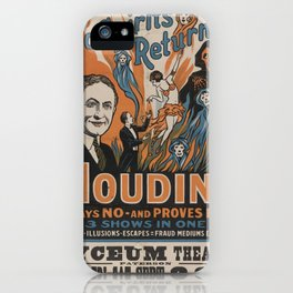 Vintage poster - Houdini - Do Spirits Return? iPhone Case