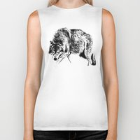 wolf Biker Tanks featuring Wolf by Anna Shell