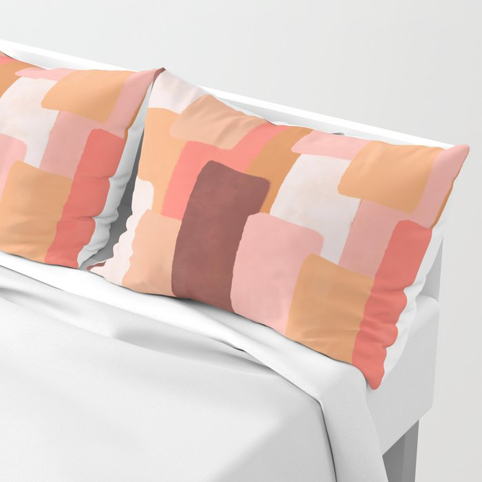 Line In Coral #society6 #abstractart Pillow Sham