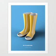 The Uncomfortable Rainboots in a blue background Art Print