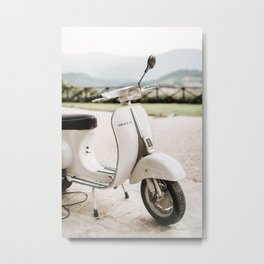 Black and White Vintage Vespa with a view. Minimalistic print - fine art photography Metal Print